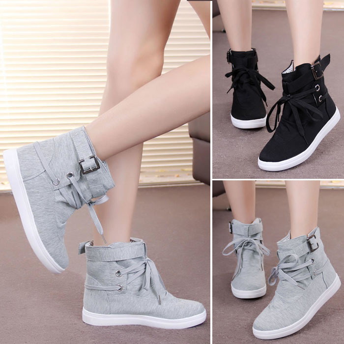 New Womens Lace up Canvas High top Fashion Athletics Sneakers Casual Flats Shoes