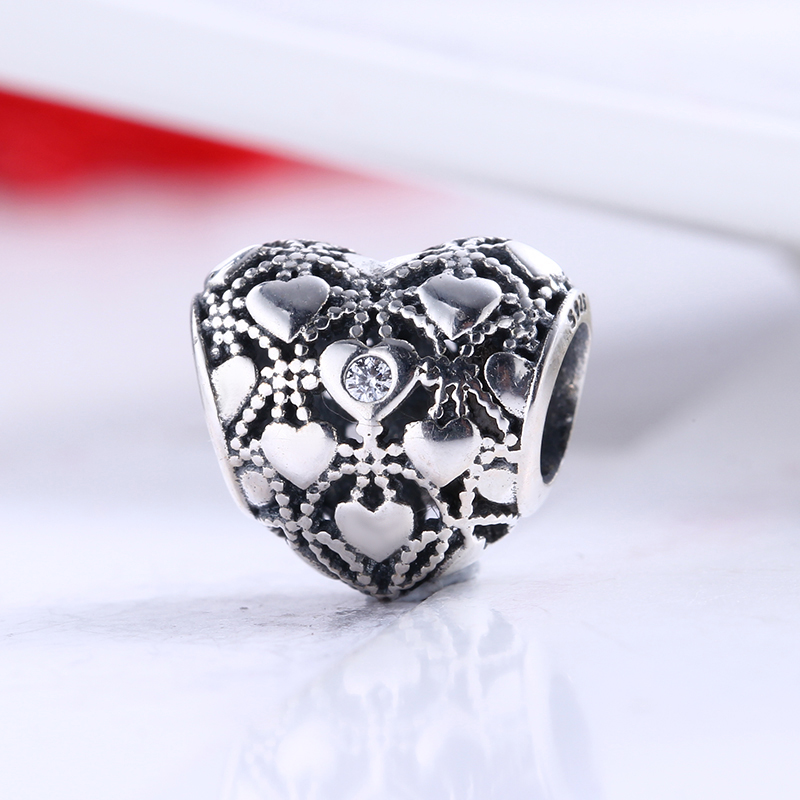 100% 925 Sterling Silver Fit Original Pandora Bracelet 2016 Aniversary Heart Black CZ Charm Beads for Jewelry Making Gift
