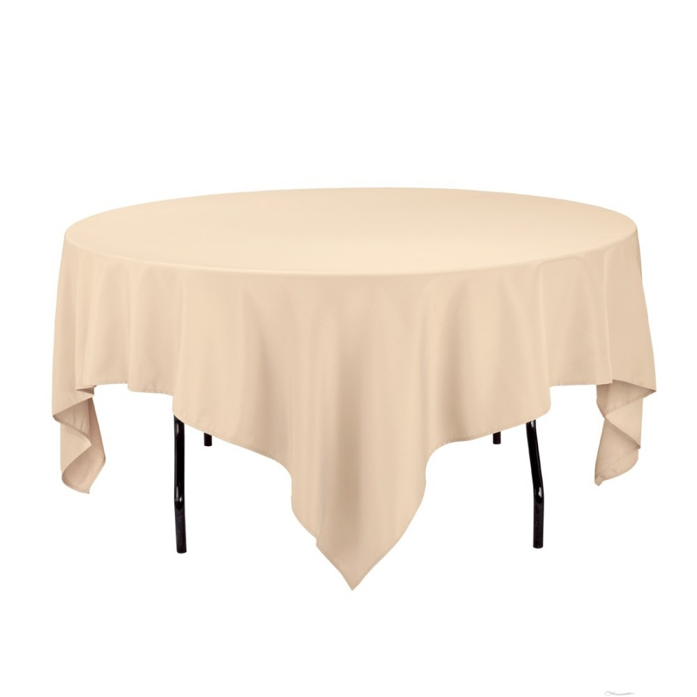 HK DHL Stain Feel 85 inch/216cm Polyester Square Tablecloth Beige Color for Wedding, 5/Pack