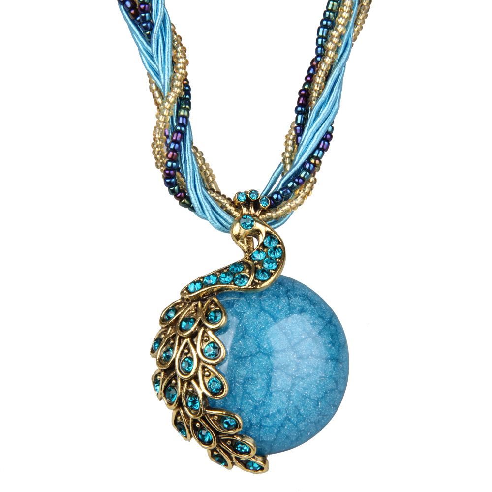 Handmade Bohemian Blue natural crystal stone pendant necklace for women fashion peacock pendant necklace jewelry Drop Shipping