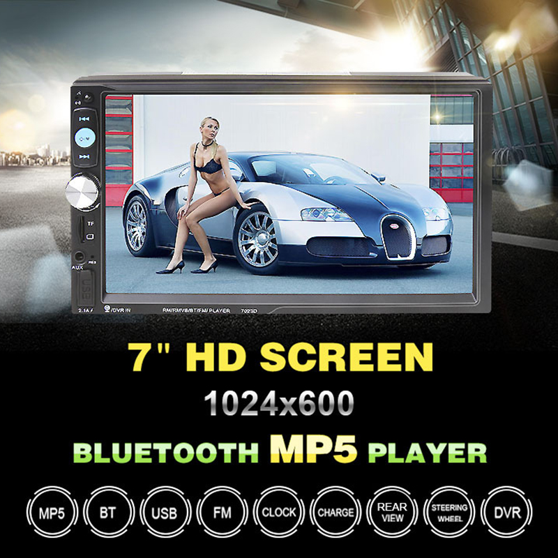 Universal 7 Inch <font><b>2</b></font> <font><b>Din</b></font> Bluetooth Car MP5 Player Touch Screen In Dash Auto Media Stereo Radio Support Rear Camera FM/USB/SD/AUX image