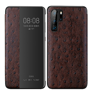 Image 5 - מקורי XOOMZ יען אמיתי צלב עור מקרה עבור Huawei P30 פרו יוקרה חכם אוטומטי Flip כיסוי עבור Huawei P30/פרו טלפון מקרה