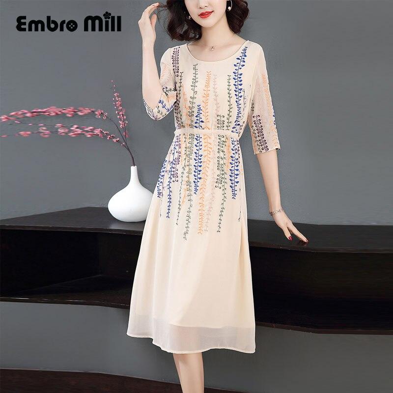 Embro moulin printemps été broderie Slim vitalité rétro femmes parti style robe élégante algues fleur femme robe S-XL