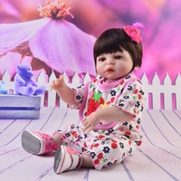 55cm Silicone Reborn Baby Doll kids Playmate Gift For Girls Baby Alive DIY Toys wear Cute strawberry clothes For Bouquets Doll