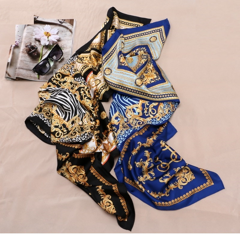 Image 4 - Fashion Prints 100% Silk Scarf Shawl Womens High Quality Hijab Head Scarves 88X88CM-in Women's Scarves from Apparel Accessories