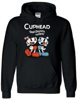 Teacup Cuphead Hoody MugmanGame Black Hooded Jacket Hoodie Cosplay Costume
