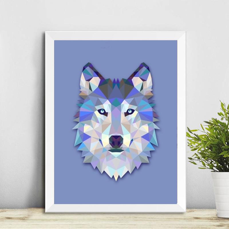 Frameless Modern Geometric Wolf Head Canvas Painting Wall