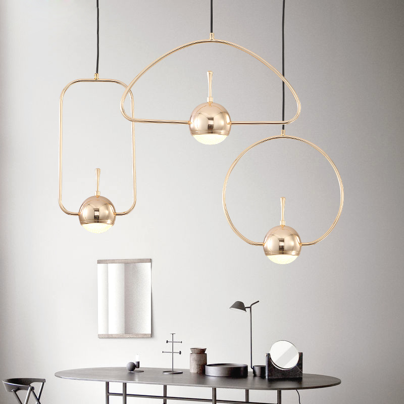 Modern Nordic Living Room Creative Chandeliers Personality Art Wrought Iron Chandeliers LED Geometric Shape Line Lights