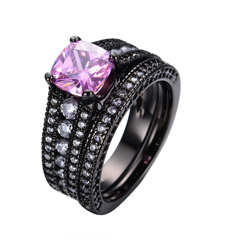 Popular Pink and Black Wedding Ring SetBuy Cheap Pink and Black