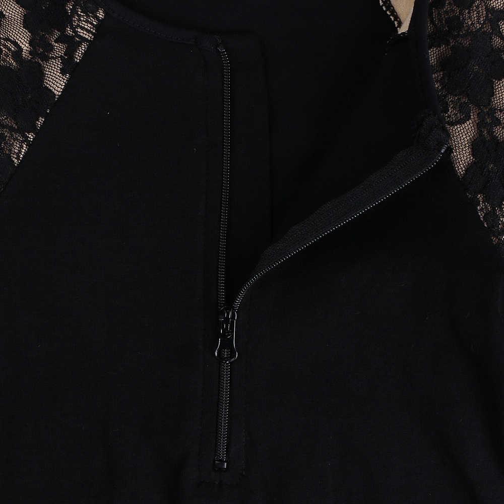 BAOHULU nastolatki dziewczyny koronki z długim rękawem gimnastyka strój kąpielowy bawełna czarny dzieci balet taniec zużycie wydajność kostium z zamkiem błyskawicznym