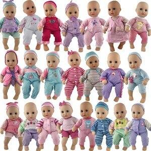 20 pces/1 conjunto roupas de boneca rosa casual terno + chapéu vestido brinquedo acessórios caber 14 polegada 36cm boneca do bebê, crianças melhor presente de aniversário