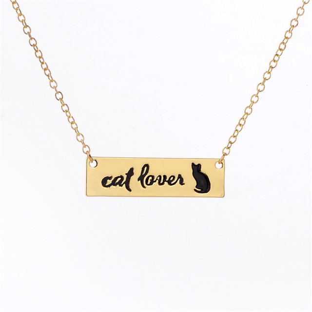 New Cat Lovers Lettering Necklace Jewelry Cute Cat Bar Necklace
