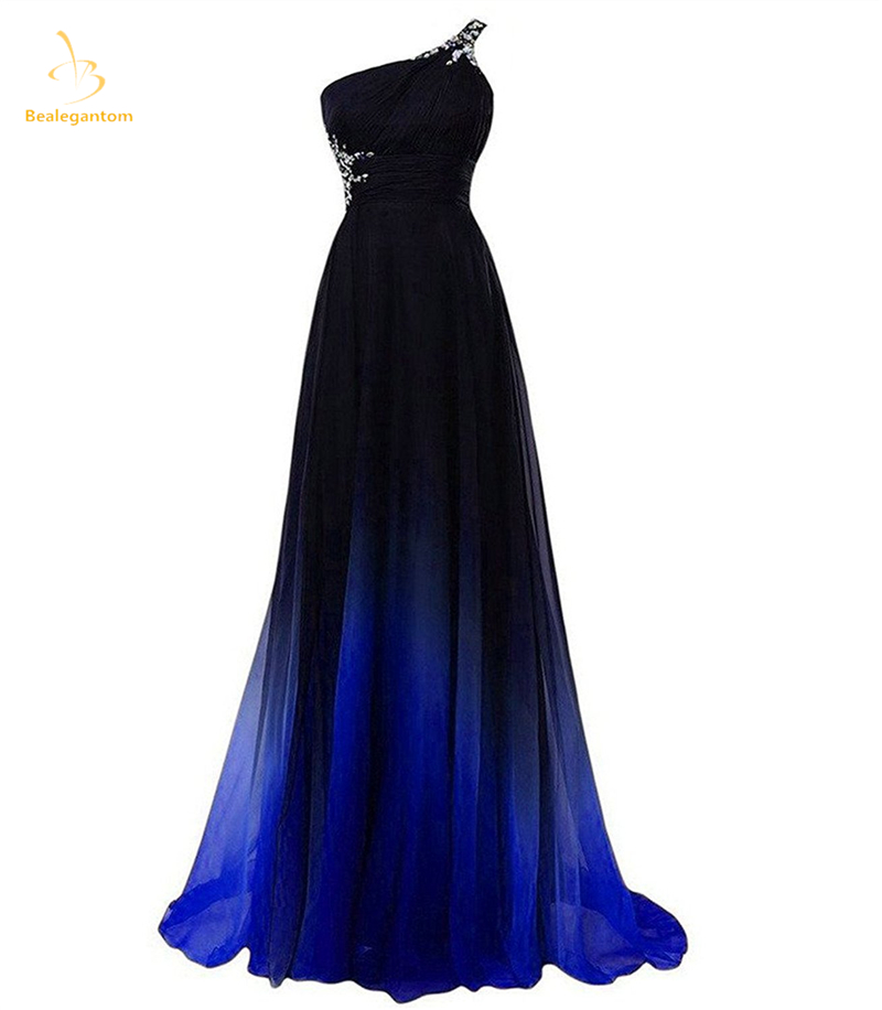 Bealegantom 2018 New Gradient Blue Chiffon   Prom   Evening   Dresses   Beaded Plus Size Ombre Party Gowns Vestido Longo QA1395