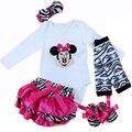 5 pçs/set Newborn Vestuário Set Bebé Minnie Mouse Romper da Longo-luva Vestido de Princesa Tutu/Jumpersuit primeiro Aniversário Outfit 0-2A