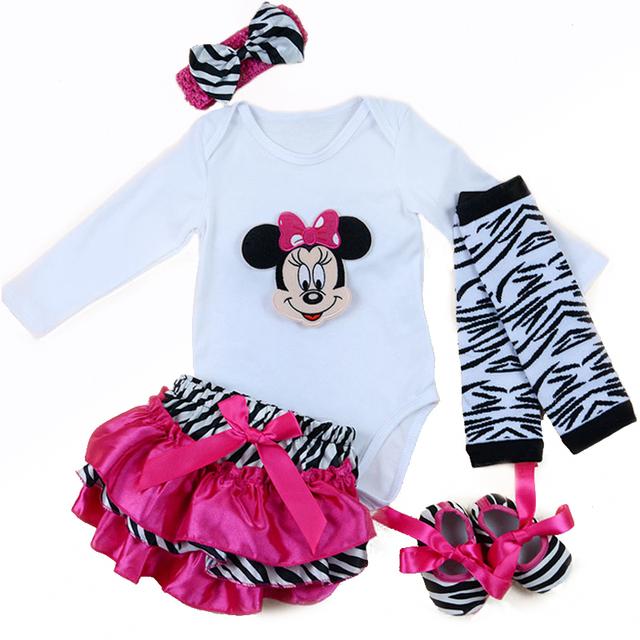 5 unids/set Recién Nacido Sistema de la Ropa Del Bebé de Minnie Mouse Mameluco Largo de la manga de La Princesa Del Vestido Del Tutú/Jumpersuit primero Cumpleaños traje 0-2Y