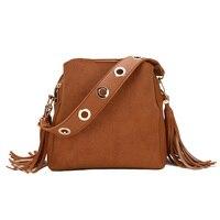 2018 New Scrub Women Bucket Bag Vintage Tassel Messenger Bag High Quality Retro Shoulder Bag Simple Crossbody Bag Tote bolsa