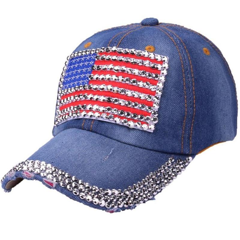 Women's Hats Caps American Flag Rhinestone Denim Baseball Cap for Women Adjustable dad hats summer Sunscreen snapback caps#4N