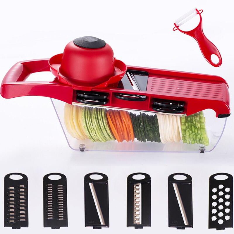 Multifunctional Adjustable Spiral Manual Slicer Mandoline Slicer Cutter Potato Fries Fruit Vegetable Tools Machine