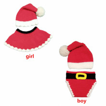 Baby boy and girls Santa Claus clothes lovely party gift hand-knitted baby photo props