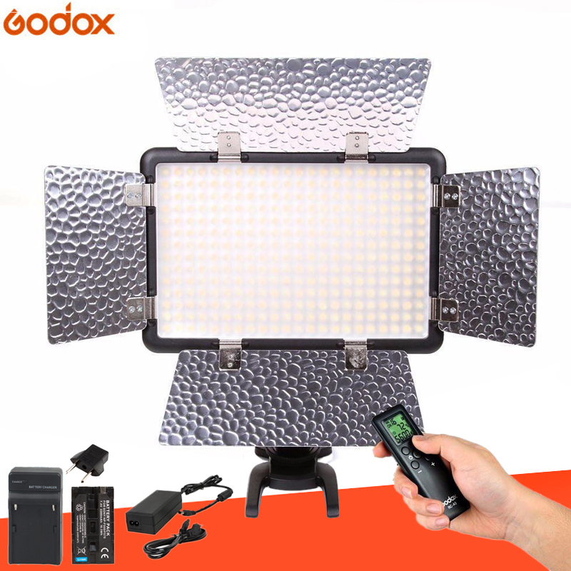 Godox LED308C II 3300K-5600K LED Video Light + RemoteAC Power Adapter + Battery + FM50 Charger For DV Camera Camera Optional