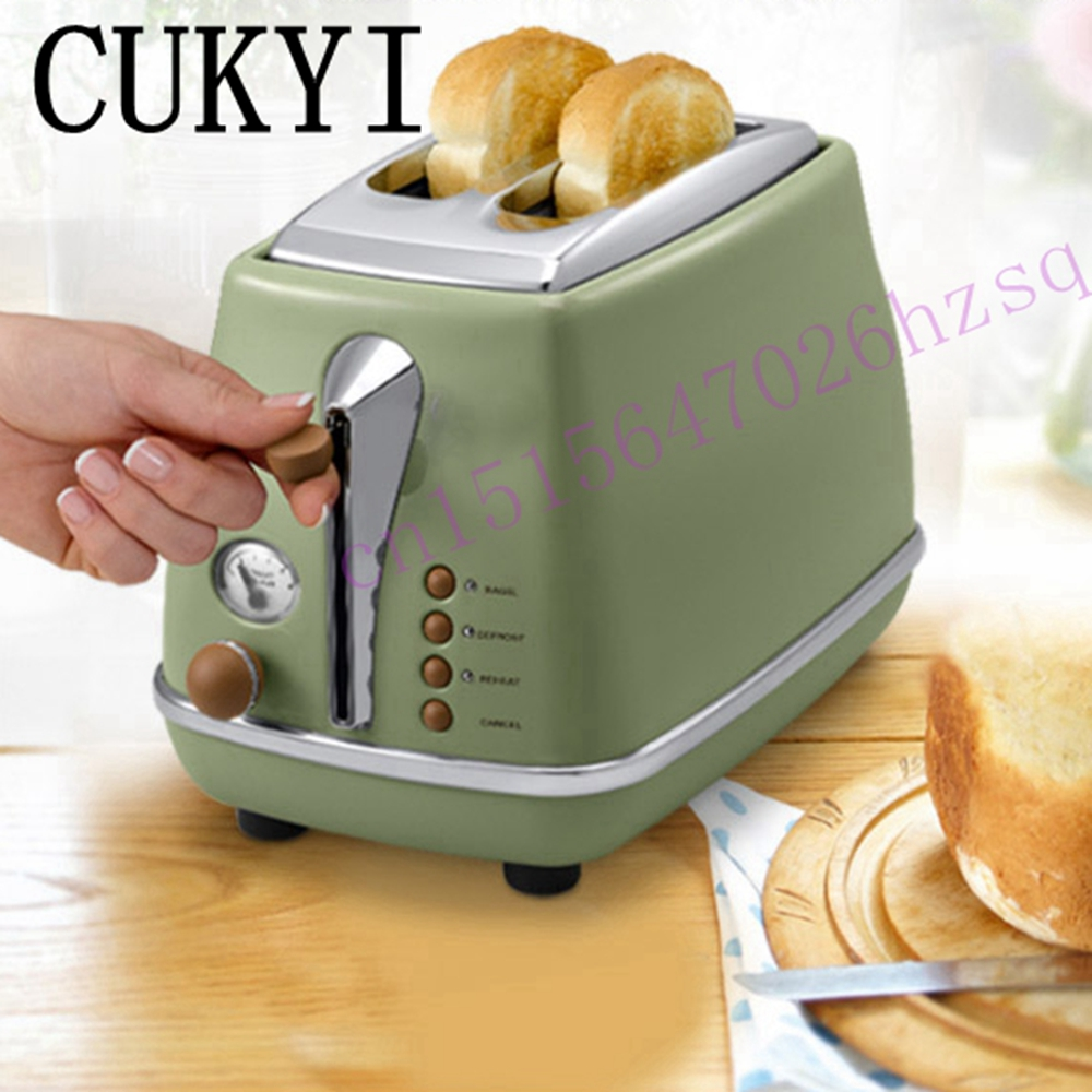 CUKYI Toaster Italian technology Breakfast machine household automatic Single/double sides baking stainless steel liner Retro cukyi 2 slices bread toaster household automatic toaster breakfast spit driver breakfast machine