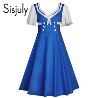 Sisjuly Vintage 1950s Summer Women Dress Hit Color Short Sleeved Patchwork Bow Knee Length Buttons New