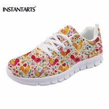 INSTANTARTS Adorable Chicken Pattern Sneakers for Women Air Mesh Breathable Female Casual Lace Up Flats Woman Animal Flat Shoes