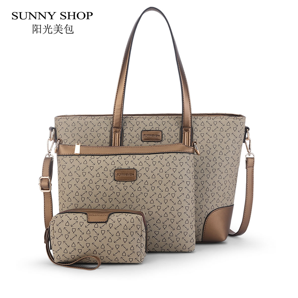 ФОТО SUNNY SHOP Christmas New 3 Bags/Set European and American Style Women Shoulder Bags With One Messenger Bags  With One wallet