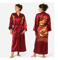 Bath Robe Women Chinese Style Satin Robe Embroidery Dragon Gown Robe Ladies Night Robes S M L XL XXL XXXL -WR004