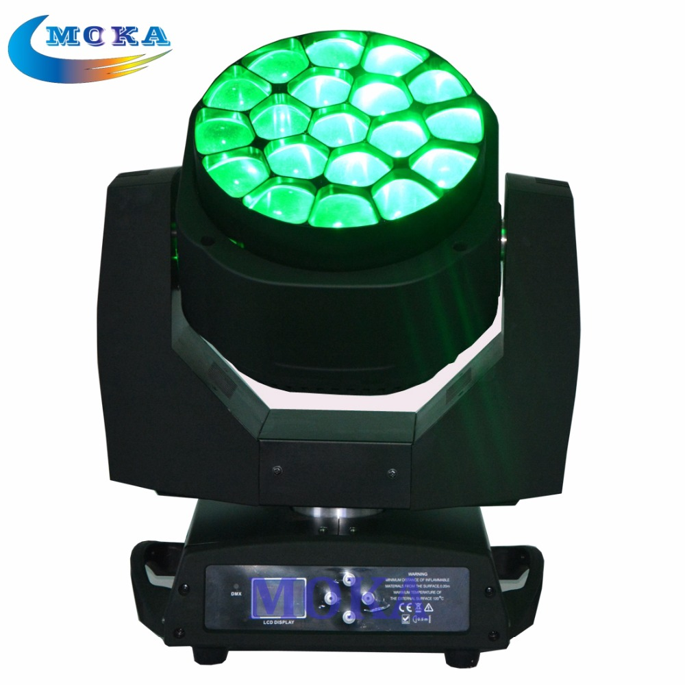 Stage Led Moving Head Zoom 19x15W RGBW Bee Eye Led Disco Light Led Moving Head Light Spot with Flight Case