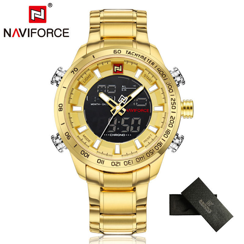 NAVIFORCE Top Brand Mens Gold Quartz Watch Clock Men Army Military Sports Watches Man Full Steel Waterproof relogio masculino watches men weide brand men sports full steel watch men s digital quartz clock man army military wrist watch relogio masculino
