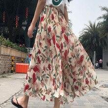 Flower Print Chiffon Pleated Skirt 2019 Long Maxi Skirt Summer Elastic Waist Beach Skirt Plus Size Korean Vintage Streetwear недорого