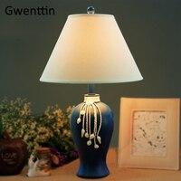 Средиземноморский тканевые настольные лампы светодиодные световые стойки для Гостиная Спальня отель прикроватная лампа абажур светильни