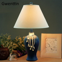 Mediterranean Fabric Table Lamps Led Stand Lights for Living Room Bedroom Hotel Bed Lamp Standing Light Fixtures Home Art Decor