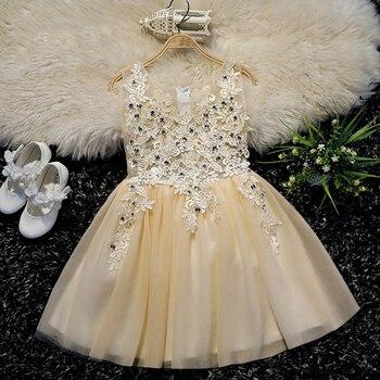 Sleeveless Children Girls Ball Gowns Luxury Princess Kids Girl Evening Vestidos Sequined Banquet Birthday Party Dresses S292