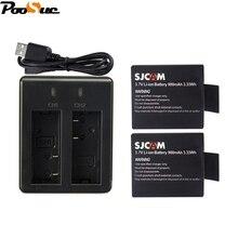 2Pcs SJ4000 battery+USB mini Dual charger for SJCAM SJ5000 SJ5000X SJ8000 SJ7000 M10 Explorer Eken H9 H8 4k Action camera