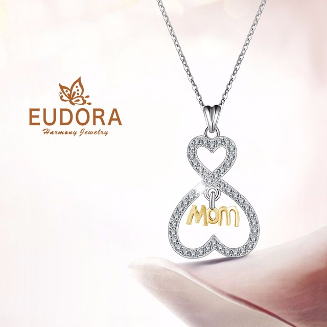 Mother' Day Gift Eudora 925 Sterling Silver Crystal Heart Pendant Necklace  for Mom CYD095
