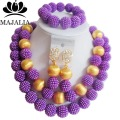 Fashion nigerian wedding african beads jewelry Set purple beads necklace bracelet earrings jewelry set  YJ-339