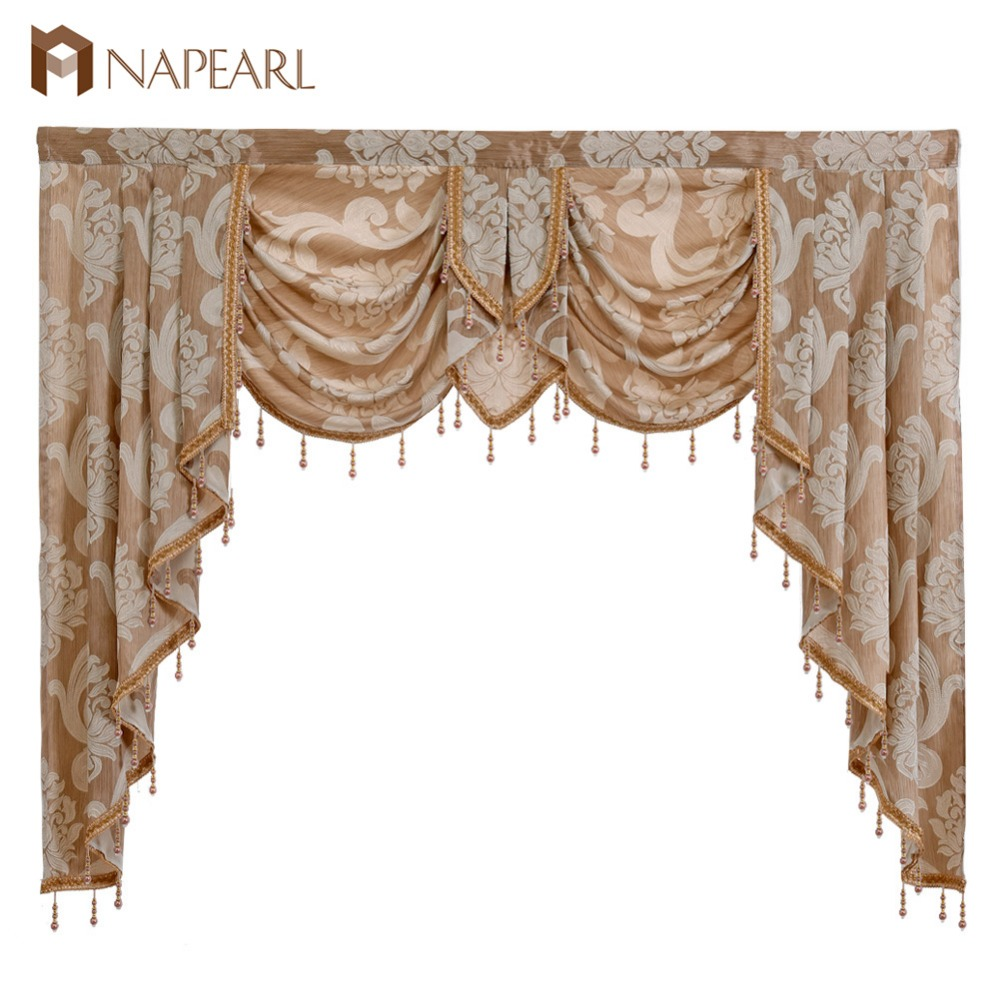 NAPEARL Luxury Beaded Valance Rustic Decorative Window Curtains Home Decor Backdrop Fabric Waterfall Drapes for Living Room Made