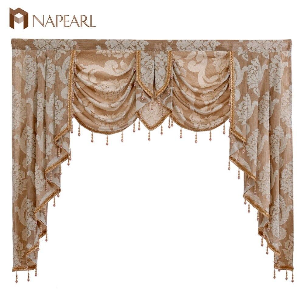 NAPEARL Perlée De Luxe Valance Rustique Décoratif Fenêtre Rideaux Accueil Décor Toile de Fond Tissu Cascade Rideaux pour Salon Fait