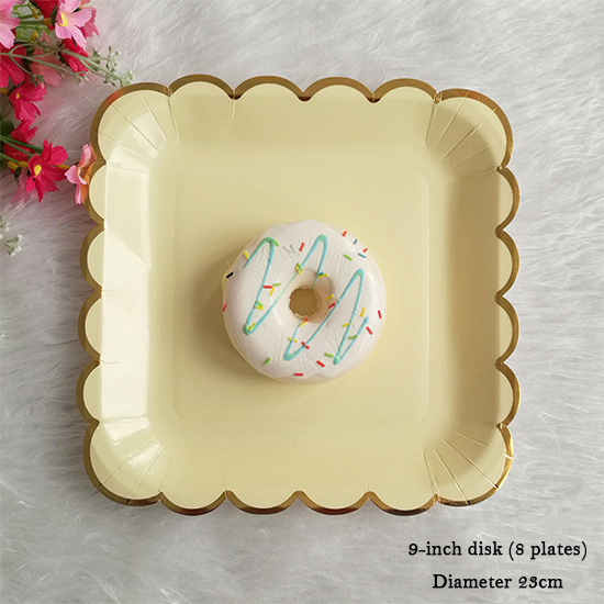 Paper 8pcs Disposable Plates Tableware Hot Supplies Scalloped Gold Foil Party-in Dishes \u0026 Plates from Home \u0026 Garden on Aliexpress.com | Alibaba Group & Paper 8pcs Disposable Plates Tableware Hot Supplies Scalloped Gold ...