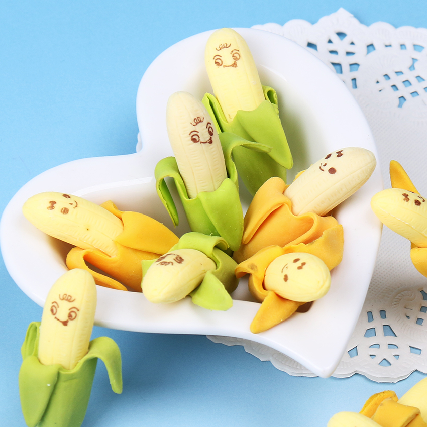 купить 2PCS/set Cute Banana-shaped Eraser Office School Stationery Eraser Children School Supply Rubber Gift по цене 11.56 рублей