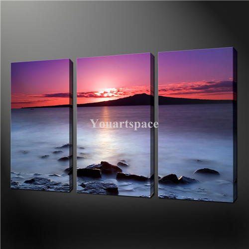 3 piece wall art painting print on canvas the picture purple sunset