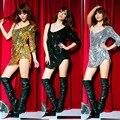 2015 discoteca cantante Desgaste del Funcionamiento del ds baile de disfraces de jazz paillette mono atractivo de las mujeres vestido de la danza