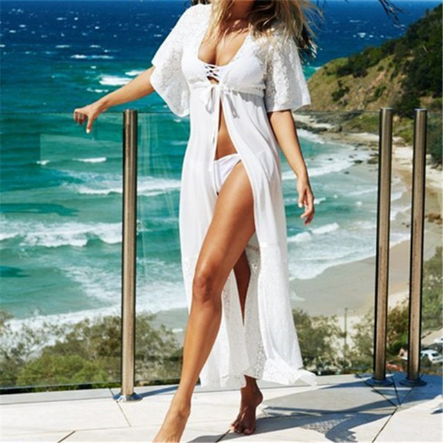 Beach Outings Cover up Chiffon Lace Robe Plage White Kaftan Dress Pareos For Women Beach Tunic Sarong Swimsuit #Q26