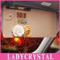Ladycrystal Luxo Discos Car Auto Viseira CD DVD Case Cartão Disk Titular Óculos de Cartão de Banco Titular do Cartão de Crédito