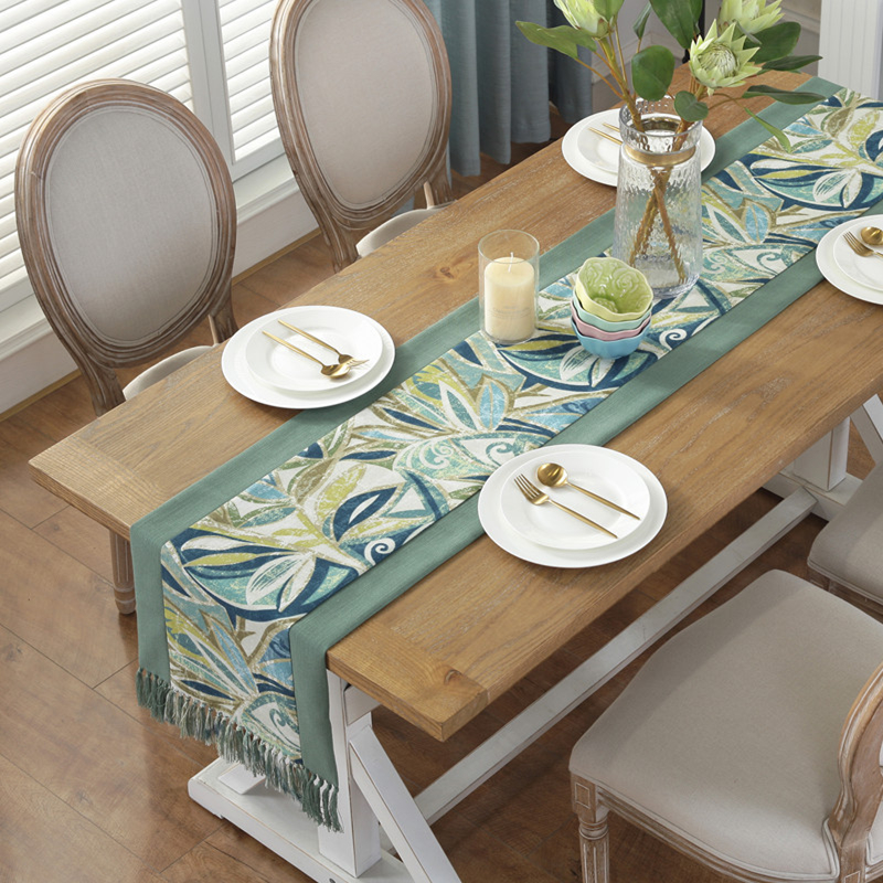 American Style Table Runner With Tassels Double-layer Linen Cotton Runner For Dining Decor Table Cover Tablecloth Camino De Mesa
