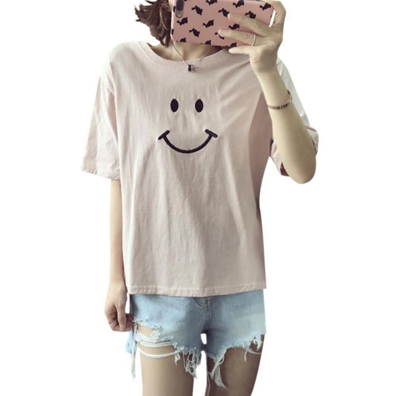 Women T-Shirts Tee-Tops Short-Sleeve Embroidery Loose Female Casual Crew Neck Smiling
