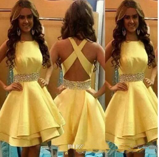 2019 Short Girls Party Dresses Yellow Satin Beading Sash Tiered Ruffle Cheap Skirt Cocktail Homecoming Formal Gown(China)