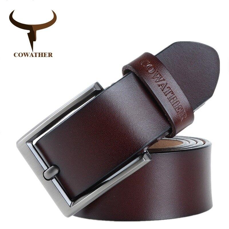 66433bf856f0 COWATHER 2018 hommes ceinture en cuir de vache véritable de luxe sangle  mâle ceintures pour hommes